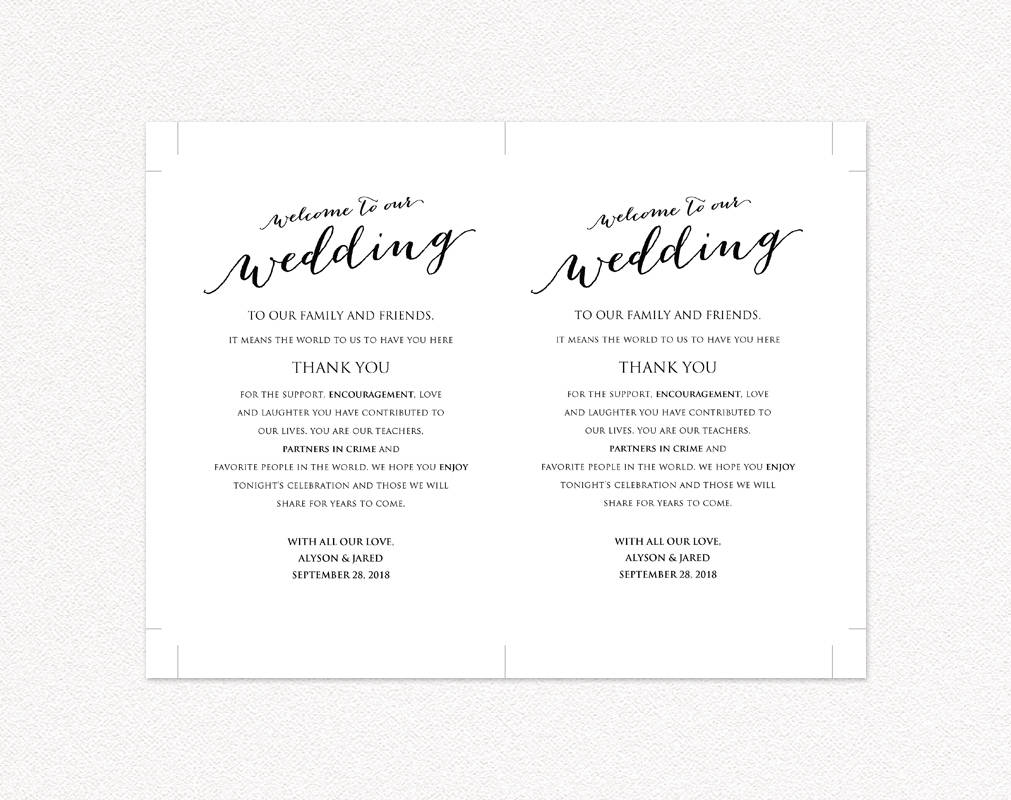 photograph relating to Information Card Templates referred to as Welcome toward Our Marriage Card · Marriage ceremony Templates and Printables