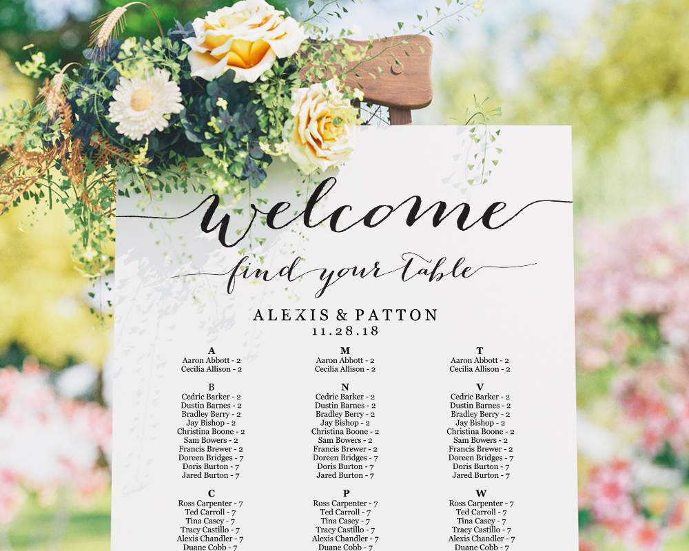 Alphabetical Seating Chart, Seating Chart Template Wedding