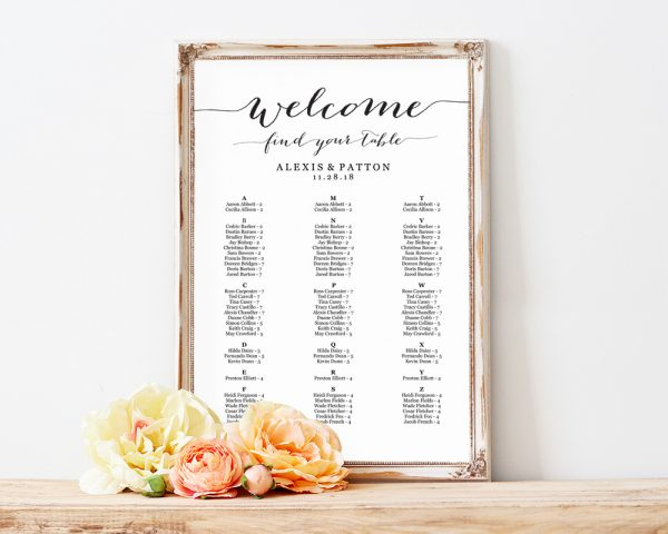 alphabetical seating chart wedding